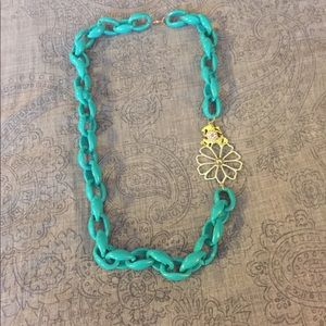 Chain Necklace Plastic Frog Blue Teal and Green
